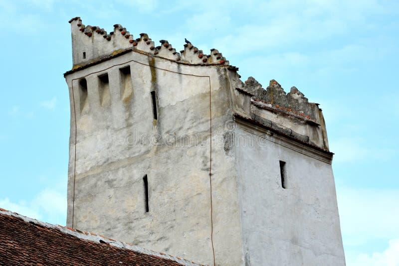 被加强的中世纪撒克逊人的教会科德莱亚,最大在Burzenland历史的区域,特兰西瓦尼亚,罗马尼亚 库存照片