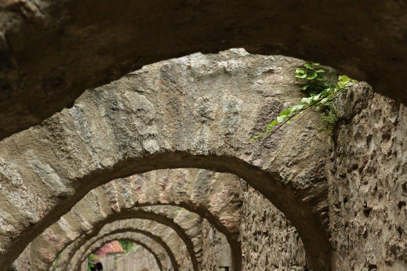 被加强的市Villefranche de Conflent在比利牛斯Orientales,法国 免版税库存图片