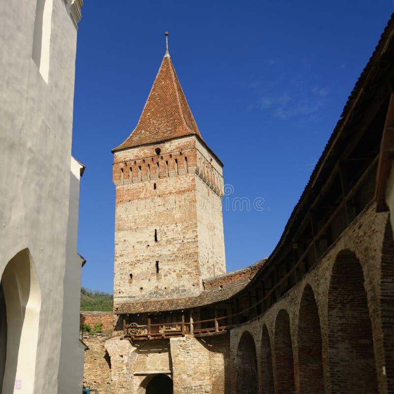 被加强的教会, Mosna,罗马尼亚 免版税库存图片