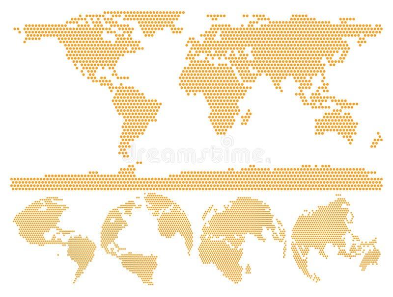 被加点的世界地图地球由圈子形状做成 向量例证
