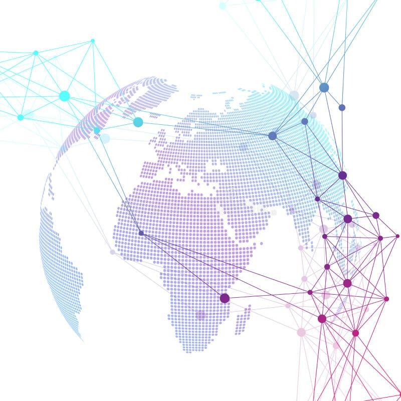 被加点的世界地球 与连接线和小点的科学几何背景 全球网络连接 大数据 向量例证