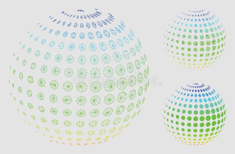 被加点的半音球形传染媒介网状网络模型和三角马赛克象 向量例证