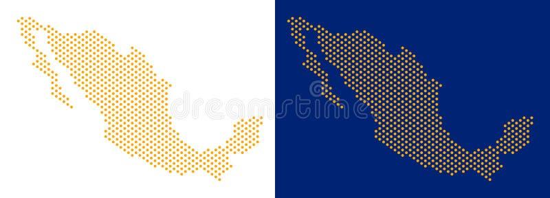 被加点的墨西哥地图 向量例证