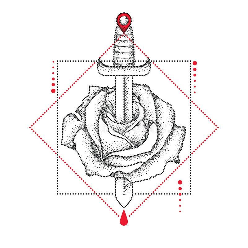 被加点的玫瑰色花、刀子、下落和几何形式传染媒介图画在黑和红色在白色背景 皇族释放例证