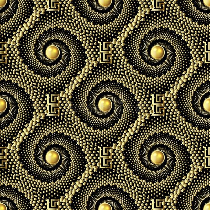 被加点的织地不很细螺旋3d传染媒介无缝的样式 希腊装饰小点backdround 几何重复华丽背景 ?? 皇族释放例证