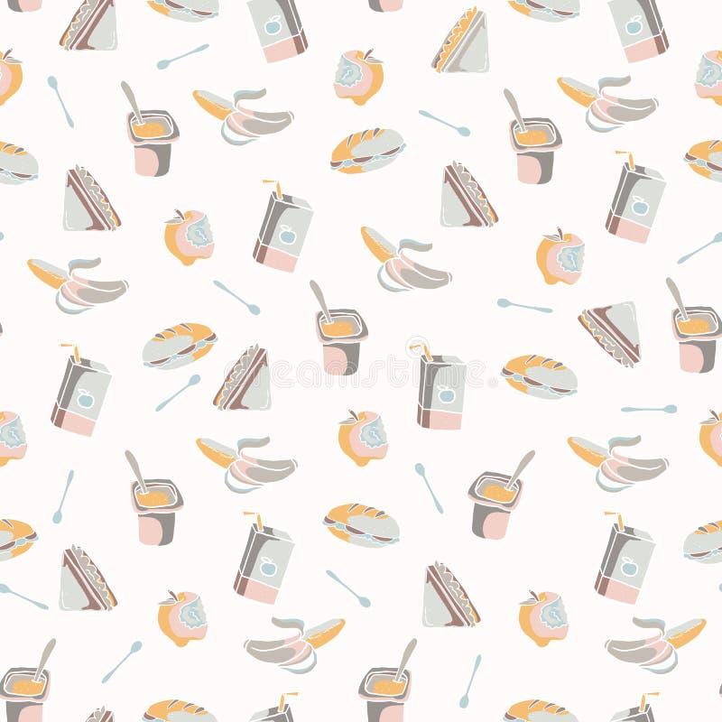 被包装的午餐无缝的样式,手拉的平的颜色传染媒介食物 向量例证
