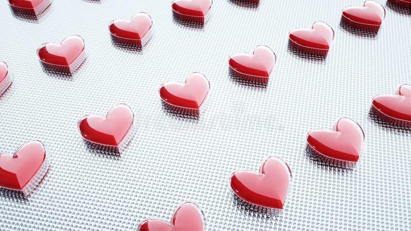 被包装的片剂和药片 心脏,心脏药片 医疗概念 3d翻译 向量例证