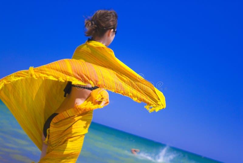 被包裹的女孩围巾 图库摄影