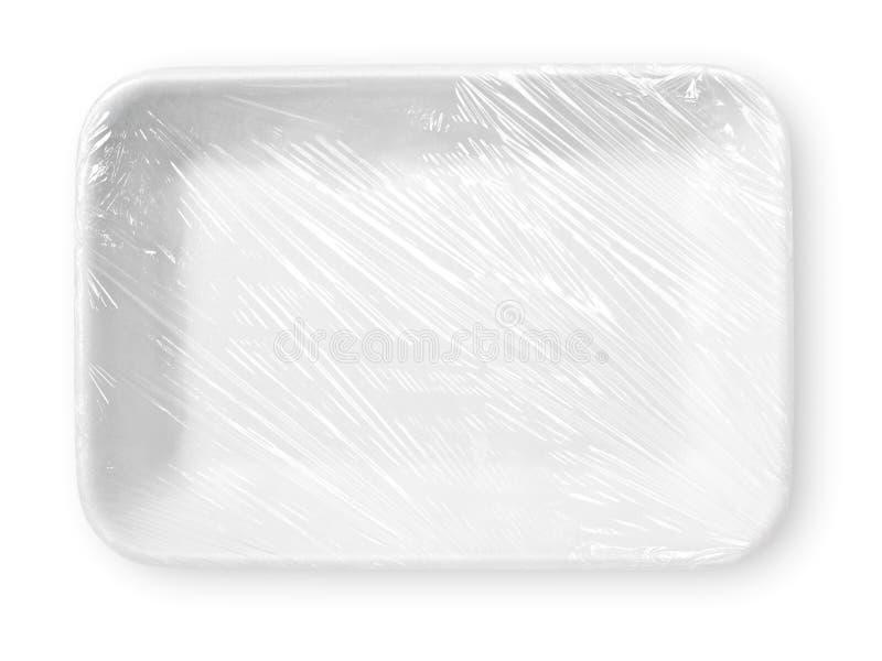被包裹的白色聚苯乙烯泡沫塑料食物盘子 库存照片
