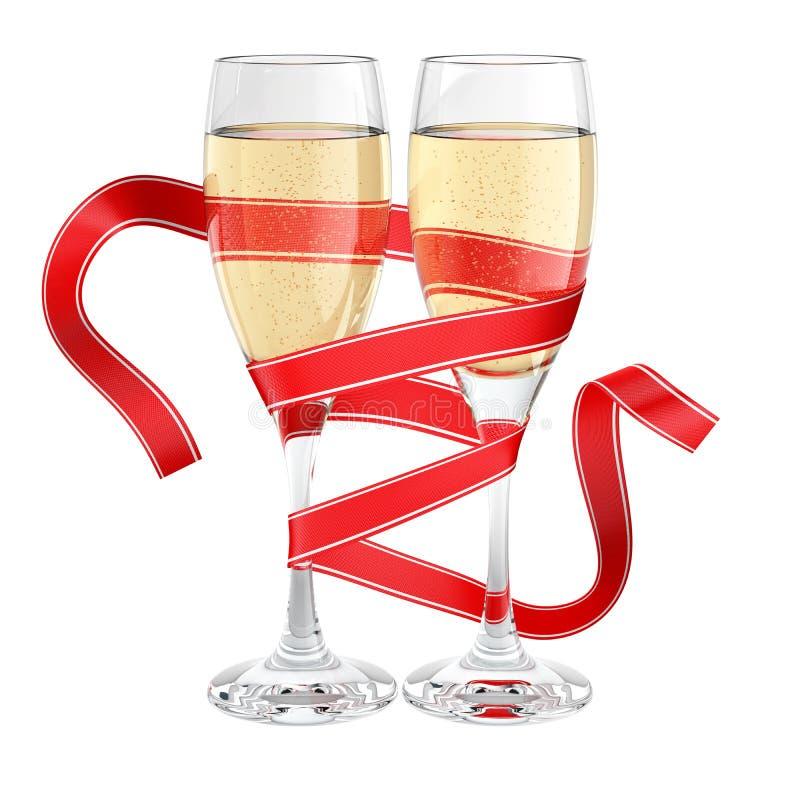 被包裹的香槟玻璃丝带 图库摄影