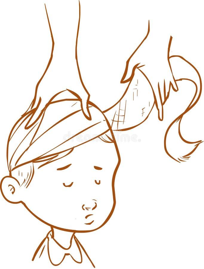 头被包裹的绷带孩子 库存例证