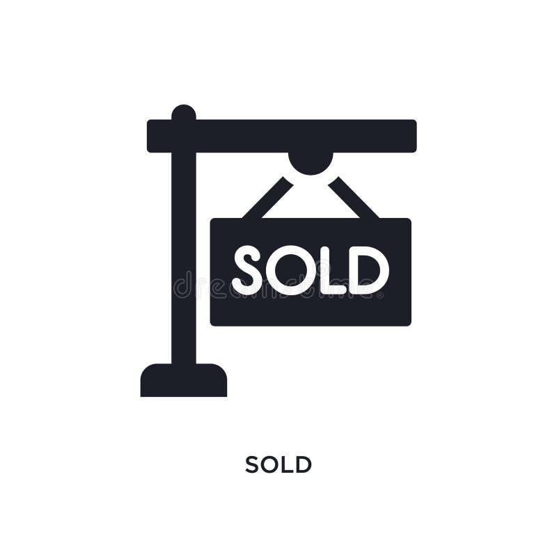 被卖的被隔绝的象 从不动产概念象的简单的元素例证 在白色的被卖的编辑可能的商标标志标志设计 向量例证