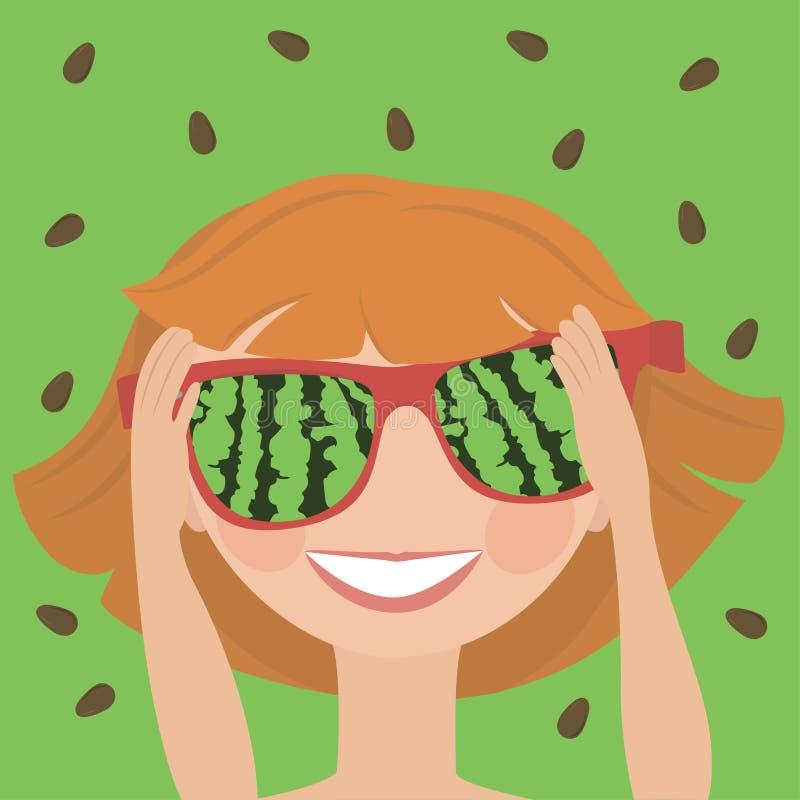 被反映的太阳镜的小女孩有西瓜的反射的 向量例证