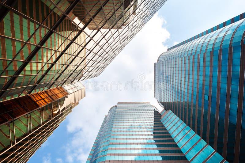 被反映的高层办公大楼,香港 图库摄影