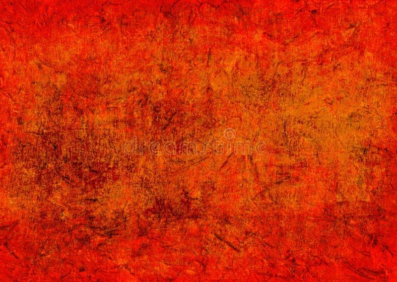 被变形的黑暗黄色红色橙色难看的东西生锈腐朽秋天背景墙纸的老抽象纹理 免版税库存图片