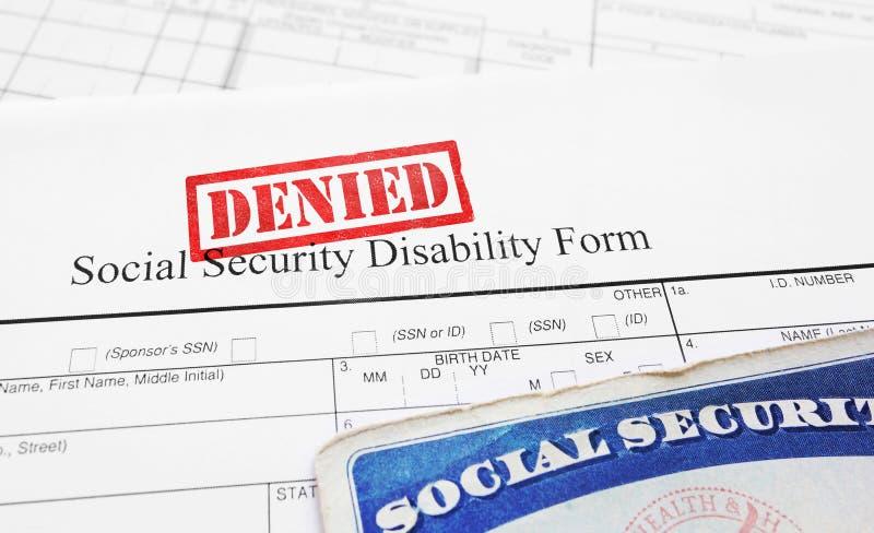 被否认的社会保险伤残应用 库存图片