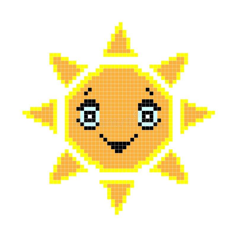 8被咬住的映象点太阳 r 老学校电脑计算机图表样式 库存例证