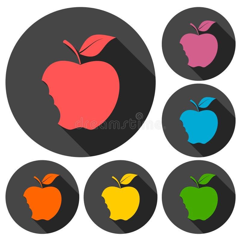 被咬住的苹果象设置与长的阴影 向量例证