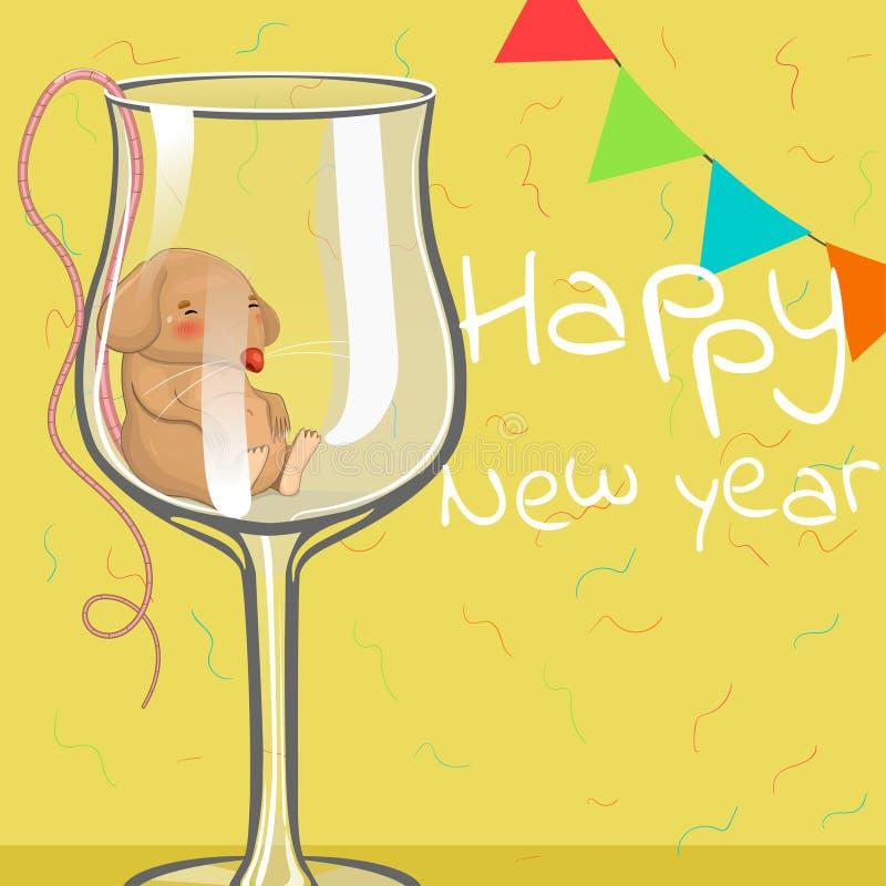 被喝的老鼠在玻璃睡觉 圣诞节例证 题字新年快乐 E 皇族释放例证