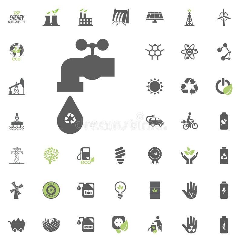 被回收的水象 Eco和可选择能源传染媒介象集合 能源电电力资源集合传染媒介 向量例证
