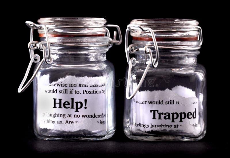 被困住的概念瓶子 免版税图库摄影
