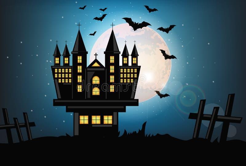 被困扰的城堡万圣节卡片背景传染媒介 与棒飞行的满月黑暗的夜 鬼的塔例证 皇族释放例证