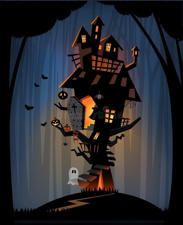 被困扰的房子在万圣夜夜 皇族释放例证