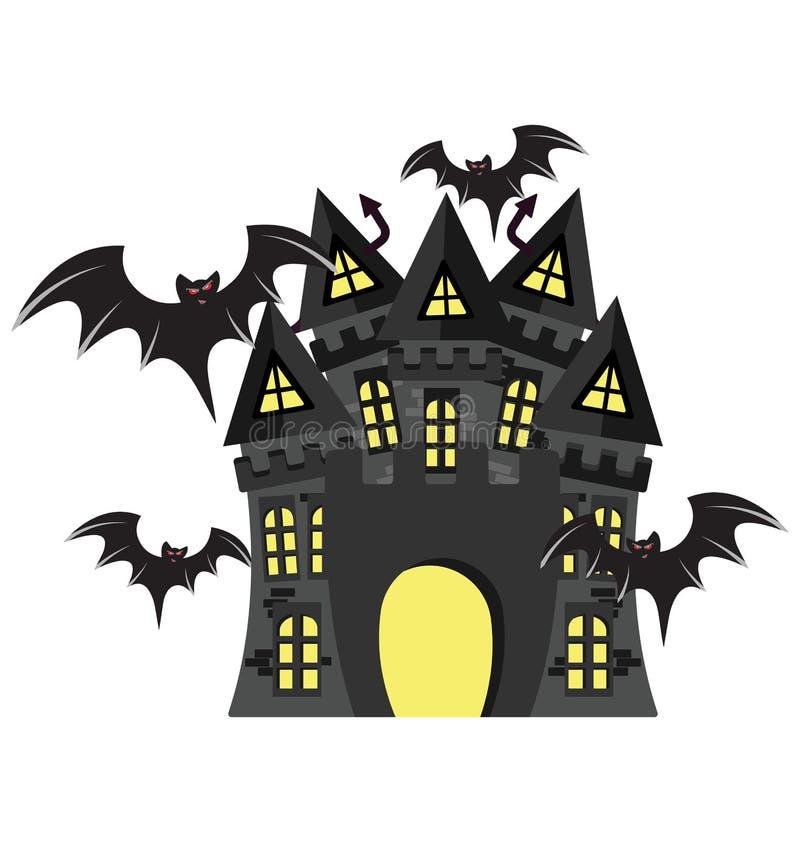 被困扰的房子,万圣夜豪宅颜色隔绝了可以容易地是编辑的传染媒介象或修改了 库存例证