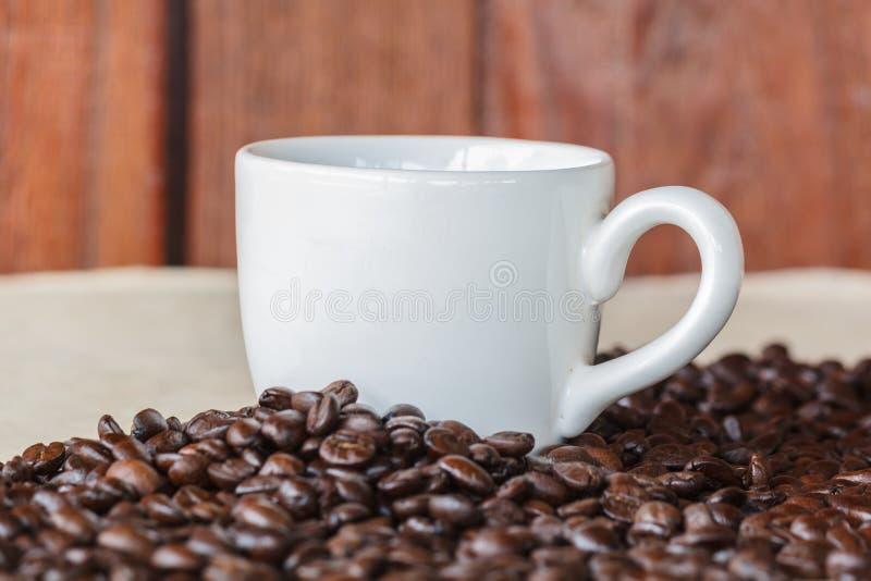 被围拢的白色咖啡和咖啡粒 库存图片