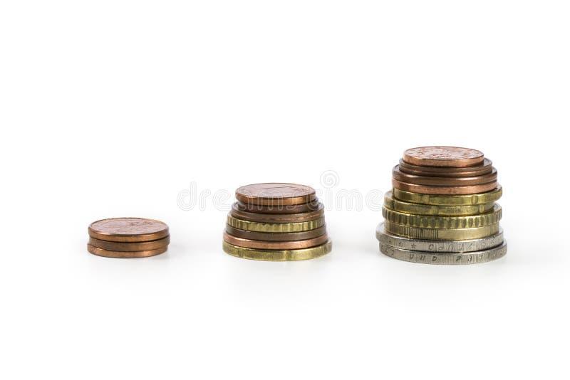 被堆的五颜六色的硬币财政成长企业图 免版税库存照片