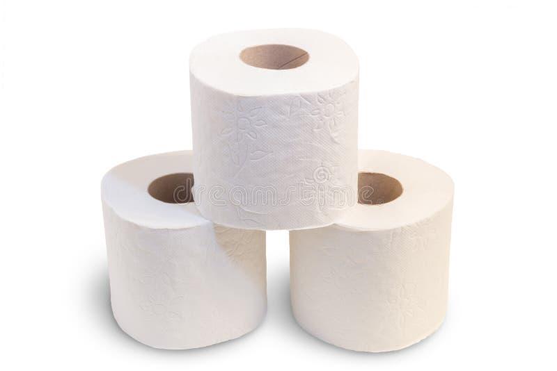 被堆积的三卷卫生纸特写镜头  免版税库存照片