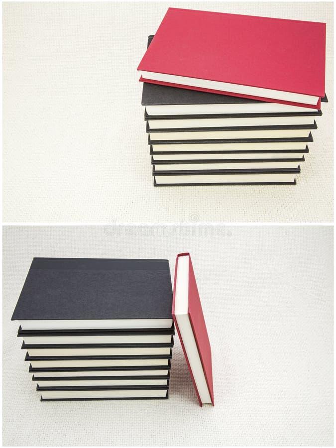 被堆积的图书馆书籍装订用布背景拼贴画集合 免版税库存照片