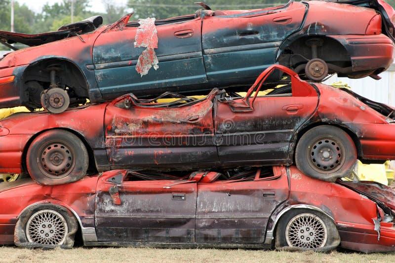 被堆积的汽车 图库摄影