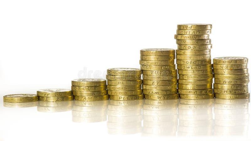 被堆积的英国1英镑硬币 库存照片