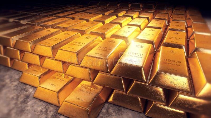 被堆积的金制马上的齿龈或金块与反射 向量例证