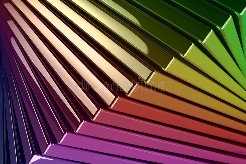被堆积的金属反射性彩虹色的正方形背景  向量例证