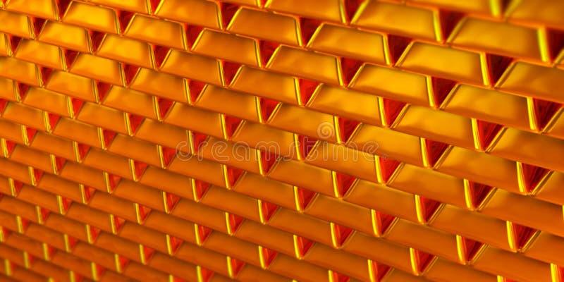 被堆积的金黄反射性和发光的金制马上的齿龈或金锭 免版税库存图片
