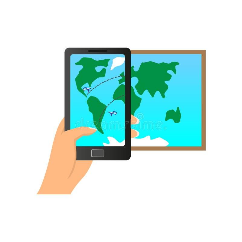被增添的现实智能手机显示飞机世界方式 向量例证