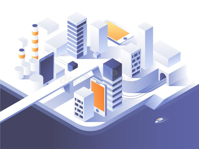 被增添的现实概念 聪明的城市技术 简单的低多建筑学 3d传染媒介等量例证 向量例证
