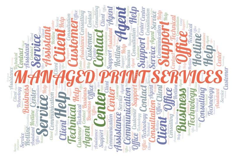 被处理的印刷品服务词云彩 向量例证