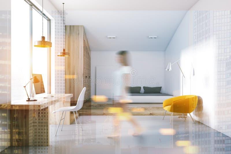 被定调子的卧室和家庭办公室内部 库存例证