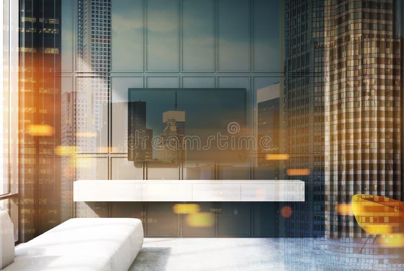 被定调子的灰色和木客厅电视沙发特写镜头 向量例证
