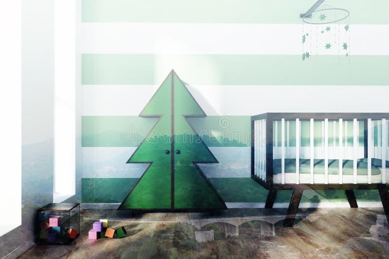 被定调子的绿色和白色托儿所、小儿床和毛皮树 皇族释放例证