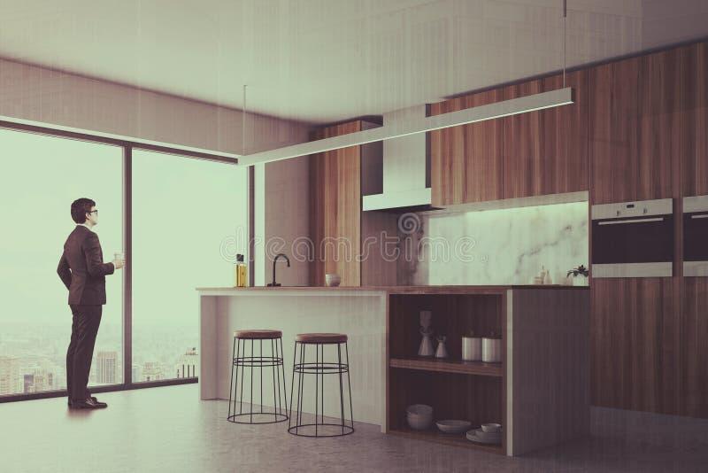 被定调子的黑暗的木厨房、酒吧和窗口边 库存例证