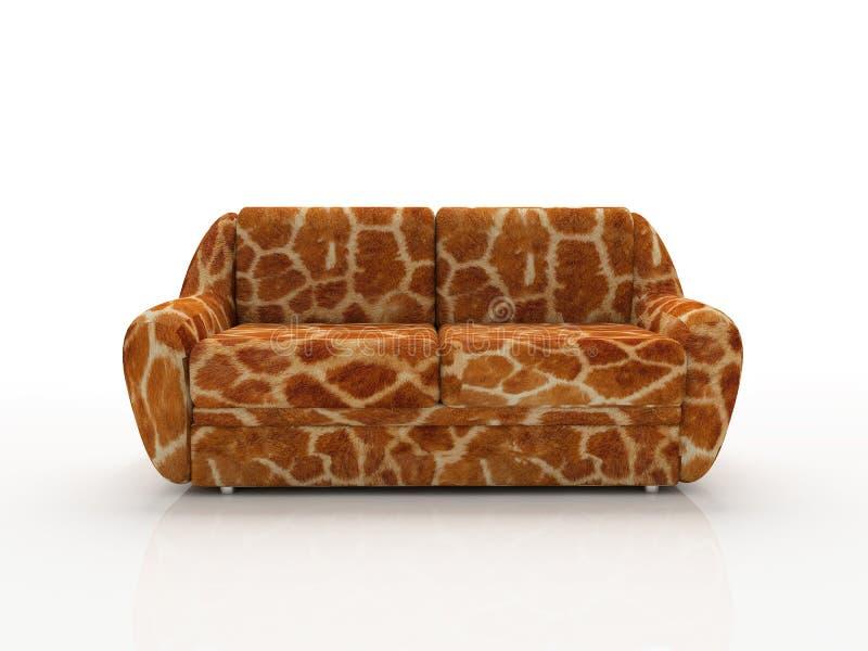 被察觉的长颈鹿仿制皮肤沙发下 免版税库存图片