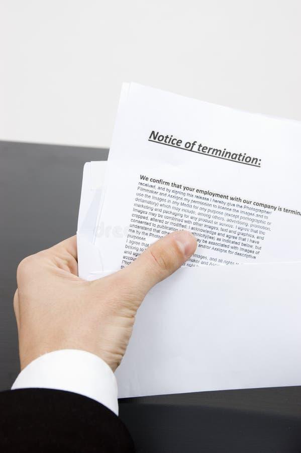 被射击的工作解雇通知书终止 免版税库存照片