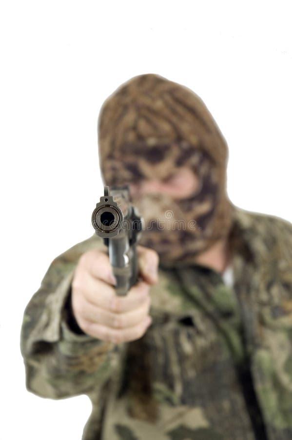 被屏蔽的枪手 免版税库存图片