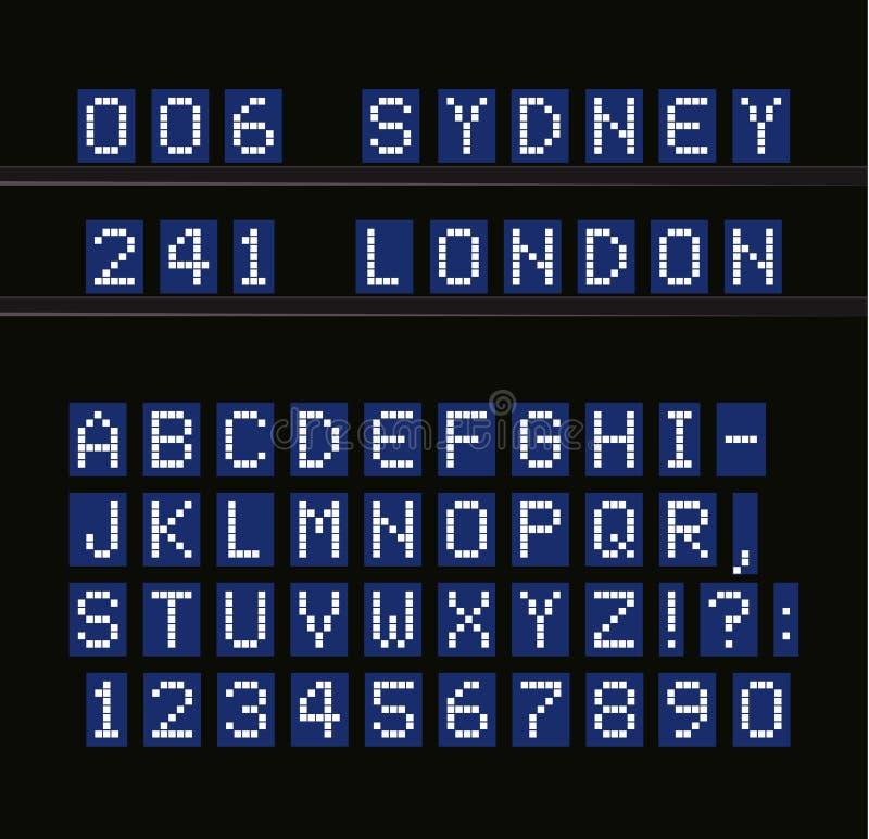 被带领的传染媒介字母表 在蓝色背景的数字式终端桌白色信件 机场,海口,火车站和 库存例证