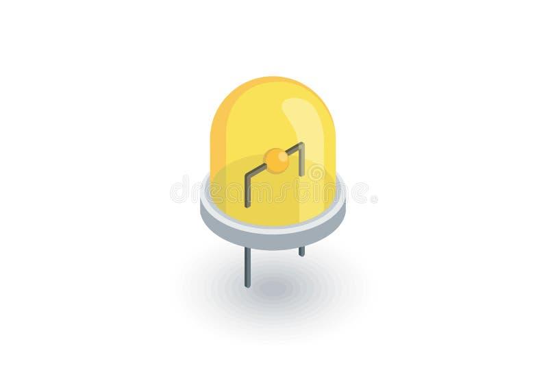 被带领的电灯泡等量平的象 3d向量 向量例证