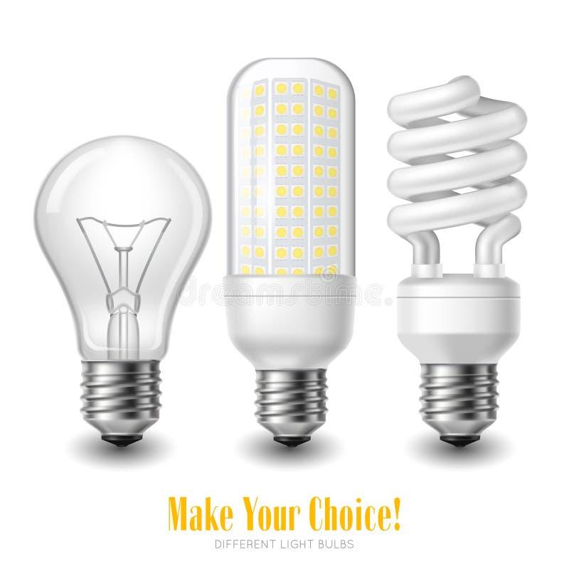 被带领的电灯泡集合 向量例证